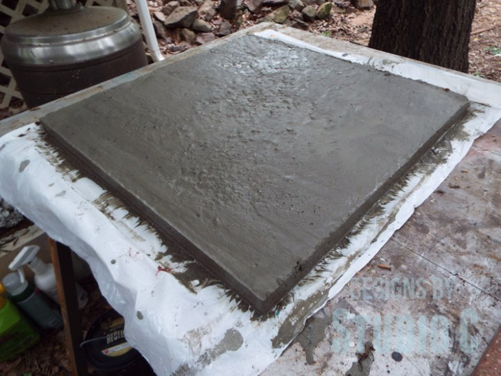 DIY Furniture Plans to Build a Stenciled Concrete Top Table - Concrete