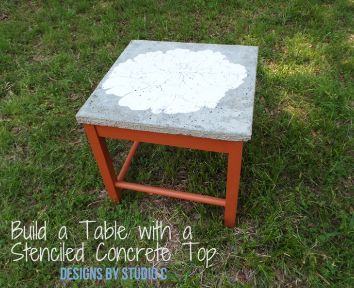 DIY Furniture Plans to Build a Stenciled Concrete Top Table - Featured View