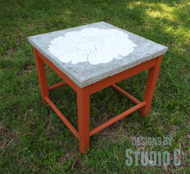 DIY Furniture Plans to Build a Stenciled Concrete Top Table - Angled View