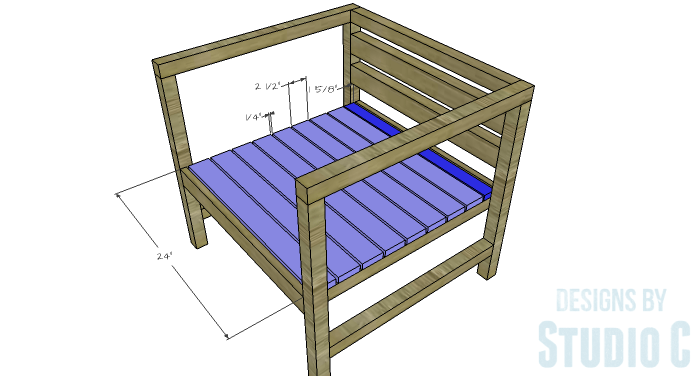 DIY Furniture Plans to Build a Modern Outdoor Chair - Seat Slats