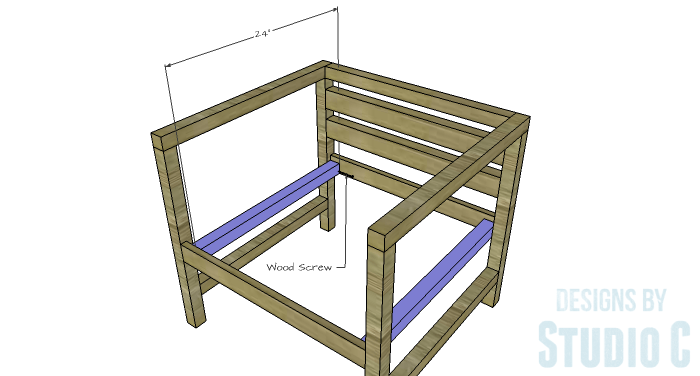 DIY Furniture Plans to Build a Modern Outdoor Chair - Side Seat Support