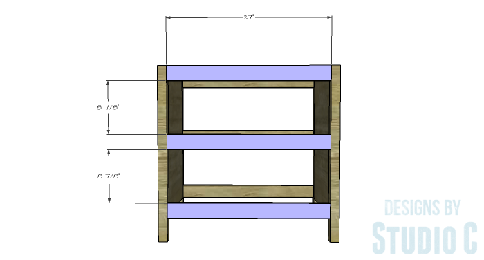 DIY Furniture Plans to Build an Open Shelf Sideboard - Front Stretchers