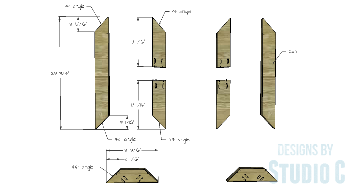 DIY Furniture Plans to Build an X Leg Coffee Table - Leg Base 1