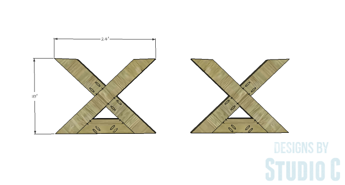 DIY Furniture Plans to Build an X Leg Coffee Table - Leg Base 2