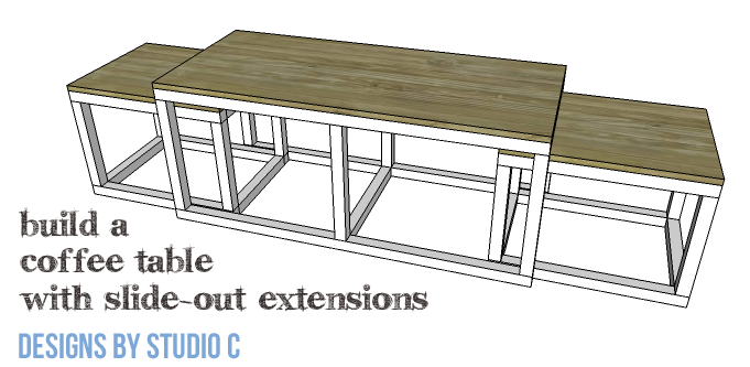 DIY Furniture Plans to Build a Coffee Table with Slide-Out Extensions - Copy