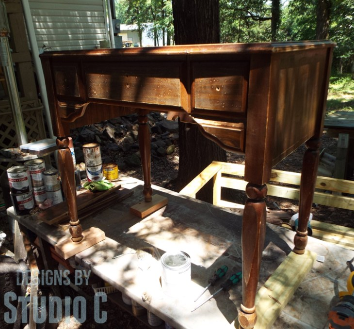 Sewing Machine Cabinet Makeover - Cabinet Sanded