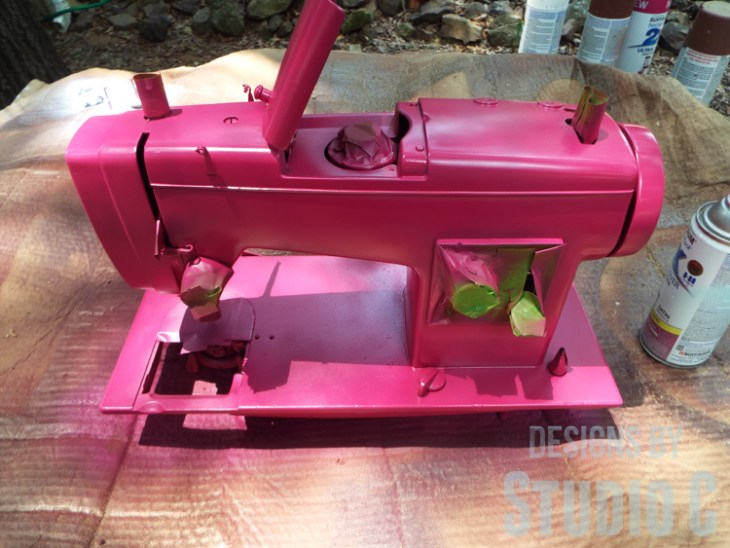 Painting an Old Metal Sewing Machine - Spray Painted
