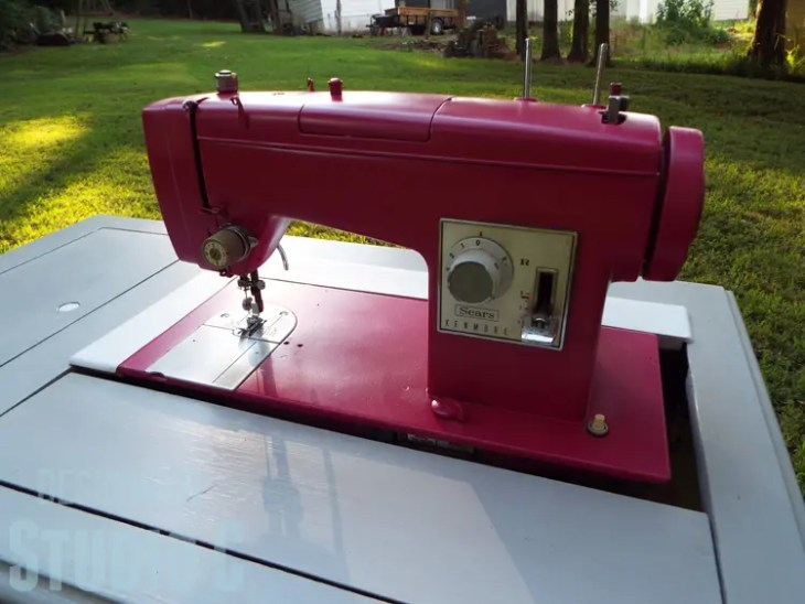 Painting an Old Metal Sewing Machine - Finished Right View