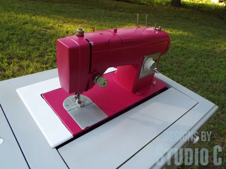 Painting an Old Metal Sewing Machine - Finished Left View