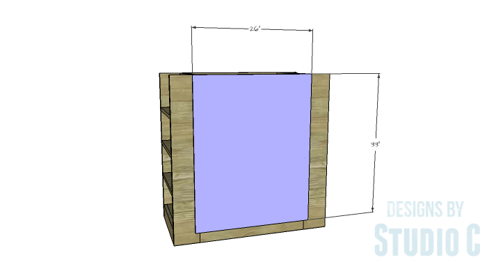 DIY Furniture Plans to Build a Dresser with Side Storage - Back