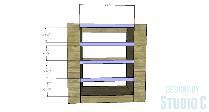 DIY Furniture Plans to Build a Dresser with Side Storage - Front Stretchers