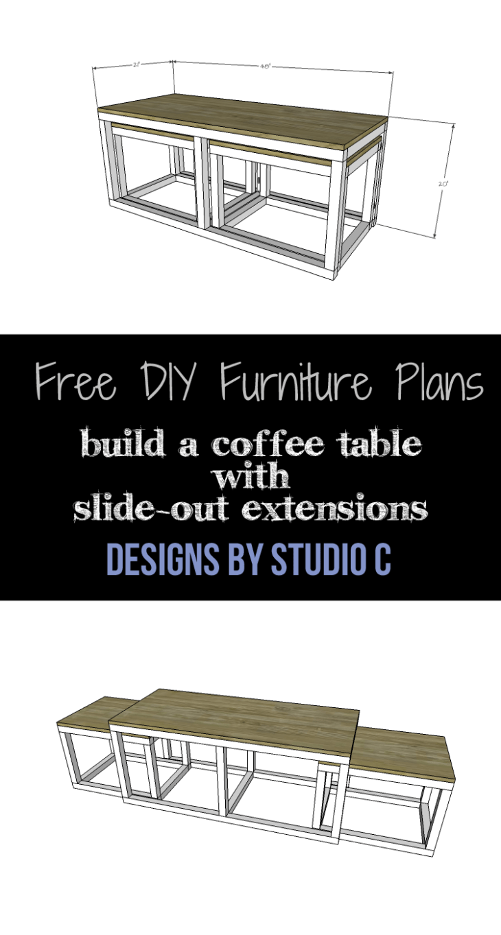 This easy to build coffee table features two slide-outs for extra space or used as an ottoman! A quick and easy weekend project!