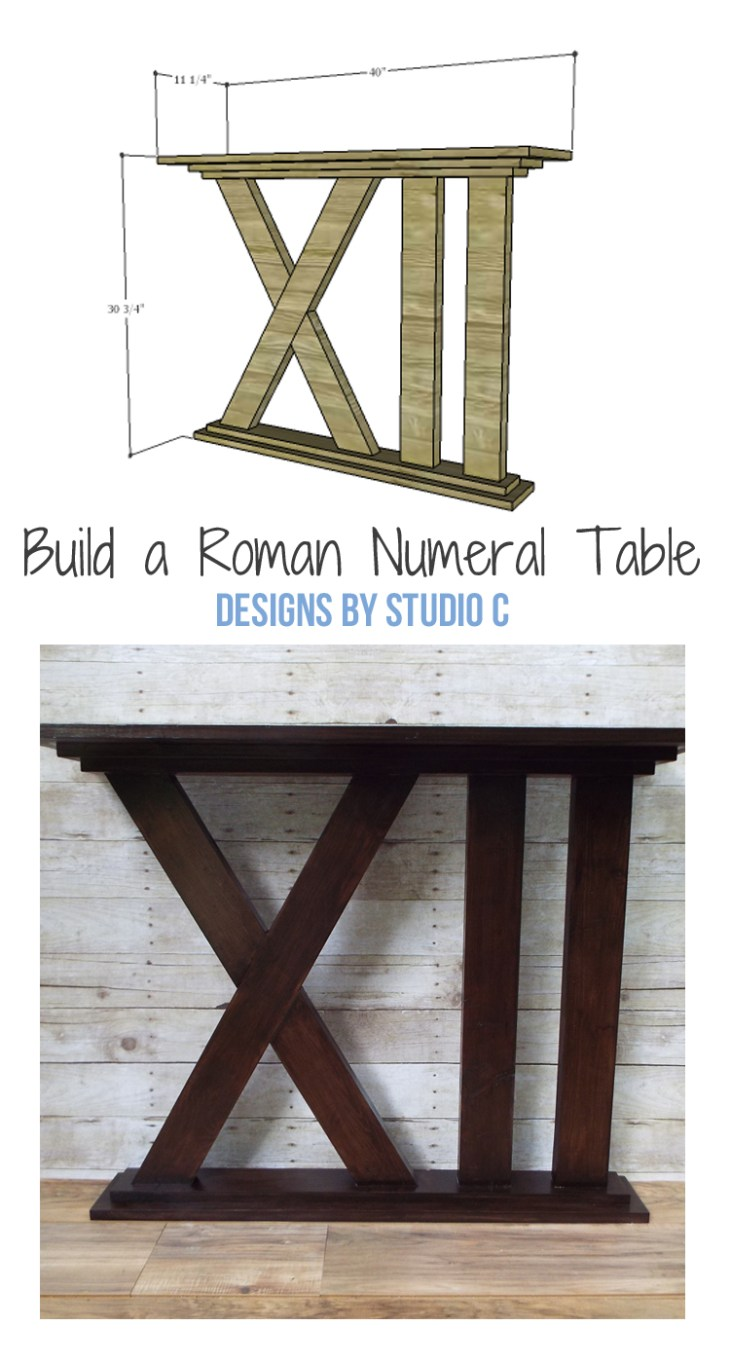 DIY Furniture Plans to Build a Roman Numeral Table - a quick and easy build perfect for any room!