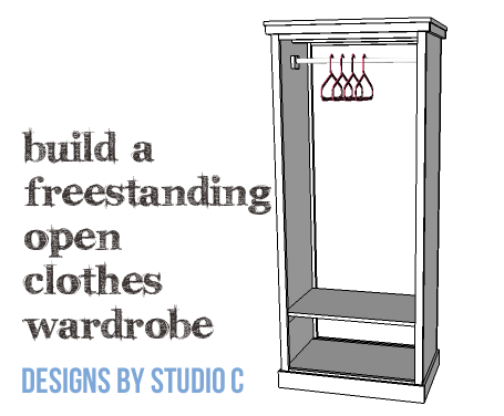 DIY Furniture Plans to Build a Freestanding Open Clothes Wardrobe - Copy