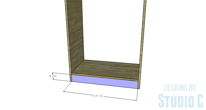 DIY Furniture Plans to Build a Freestanding Open Clothes Wardrobe - Front & Back Lower Supports