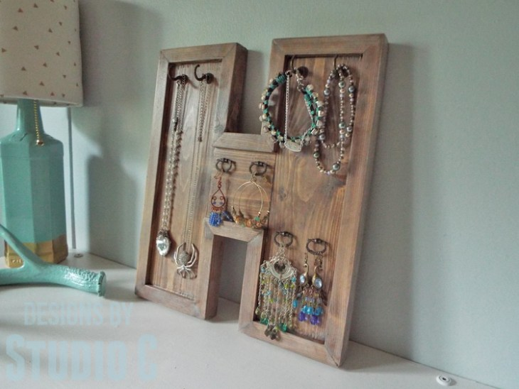 Build a DIY Wood Letter Jewelry Hanger - with Jewelry