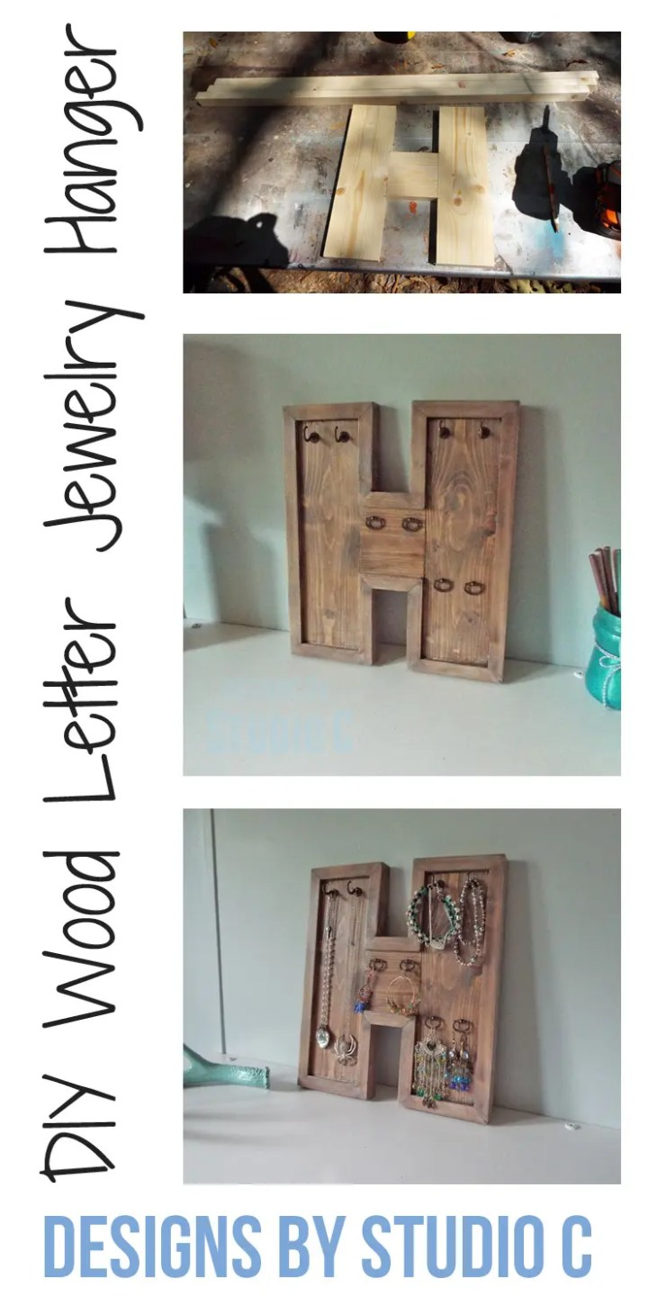 An easy to make wood letter doubling as a jewelry hanger using hooks and jewelry box pulls. Super-easy to make!
