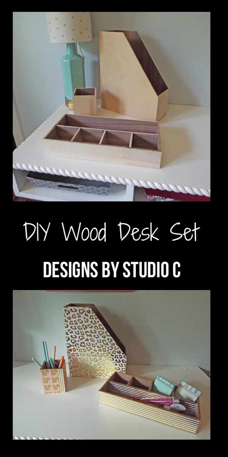 An easy to make wood desk set with no fasteners that can be customized with paint or scrapbooking paper! Perfect for back to school!