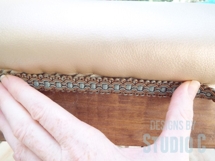DIY Furniture Plans to Build an Upholstered Bench with Tapered Legs - Braided Trim