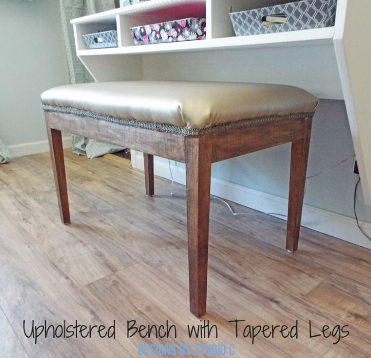 DIY Furniture Plans to Build an Upholstered Bench with Tapered Legs - Finished