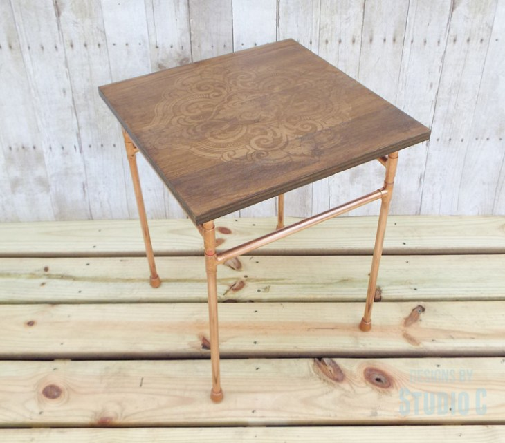 DIY Copper Pipe End Table with a Wood Top - Completed View