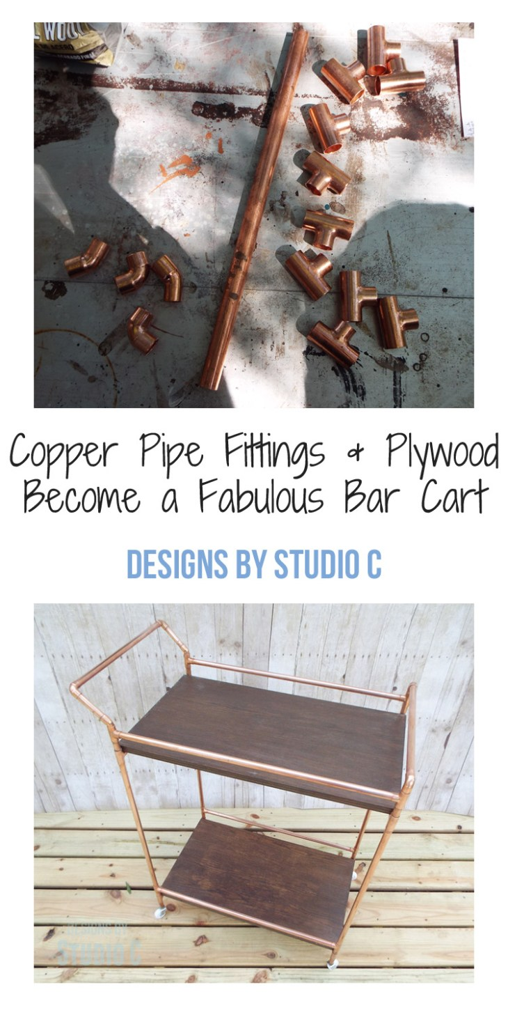 A beautiful bar cart perfect for entertaining for Copper pipe projects