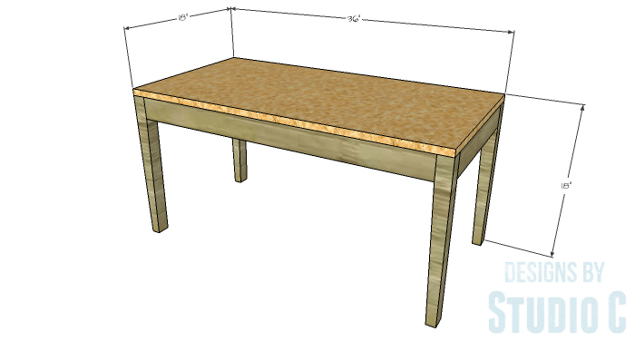 DIY Furniture Plans to Build an Upholstered Bench with Tapered Legs