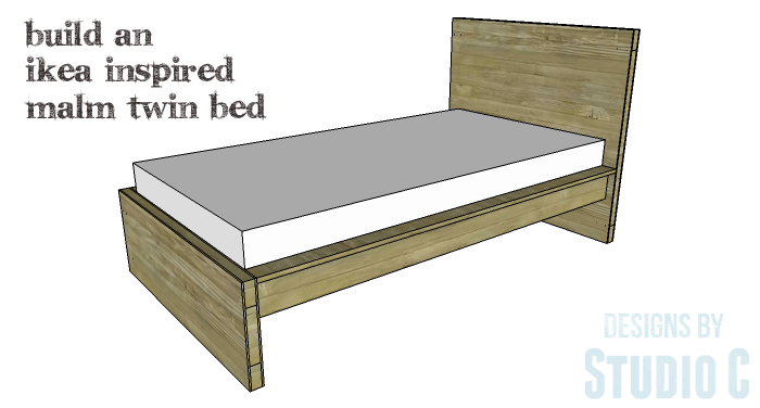 Free Furniture Plans to Build a DIY Ikea Inspired Malm Twin Bed - Featured