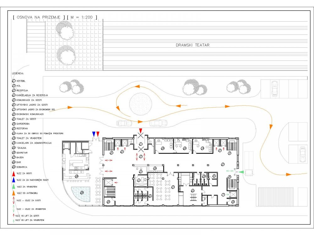 Hotel Plan Including Reception, Restaurant, Pool & Bar