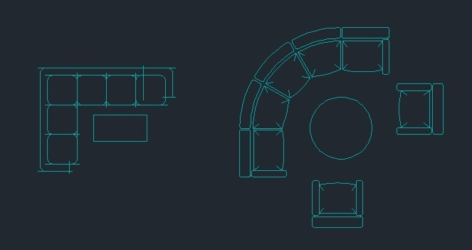 L Shape And Curved Sofa 2D DWG Block For Autocad DesignsCAD