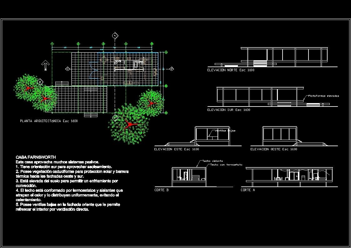 Farnsworth House Dwg Block For Autocad Designs Cad