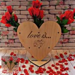 Laser Cut Valentine Day Gift Heart Shape Rose Stand Free Vector
