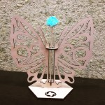 Laser Cut Butterfly Test Tube Bud Flower Vase Wooden Stand Free Vector