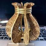 Laser Cut Decorative Floral Vase Template SVG File