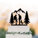 Laser Cut Hiking Wedding Couple Cake Topper Free Vector