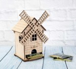 Laser Cut Mill Shaped Tea House Tea Bag Storage Free Vector