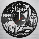 Laser Cut Paris Vinyl Record Clock DXF File