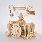 Laser Cut Old-fashioned Telephone Toy 3D Wooden Model Free Vector