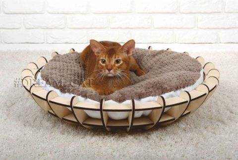 Cat Bed, Cat Furniture, Pet Furniture, Free Vector, Laser Cut Wooden