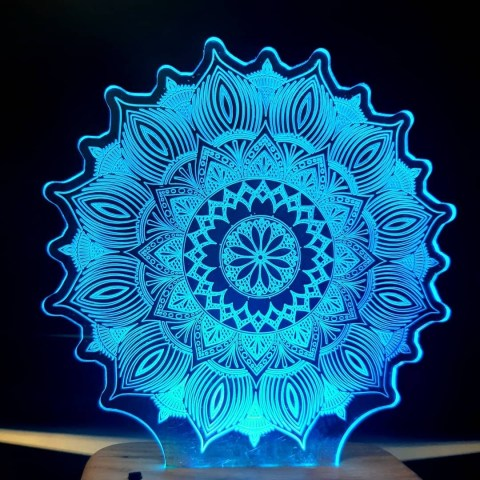 Mandala 3D Illusion Lamp 3D Night Light DXF File