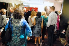 The line for book signing by Jeremiah Goodman in the Stark Fabric showroom
