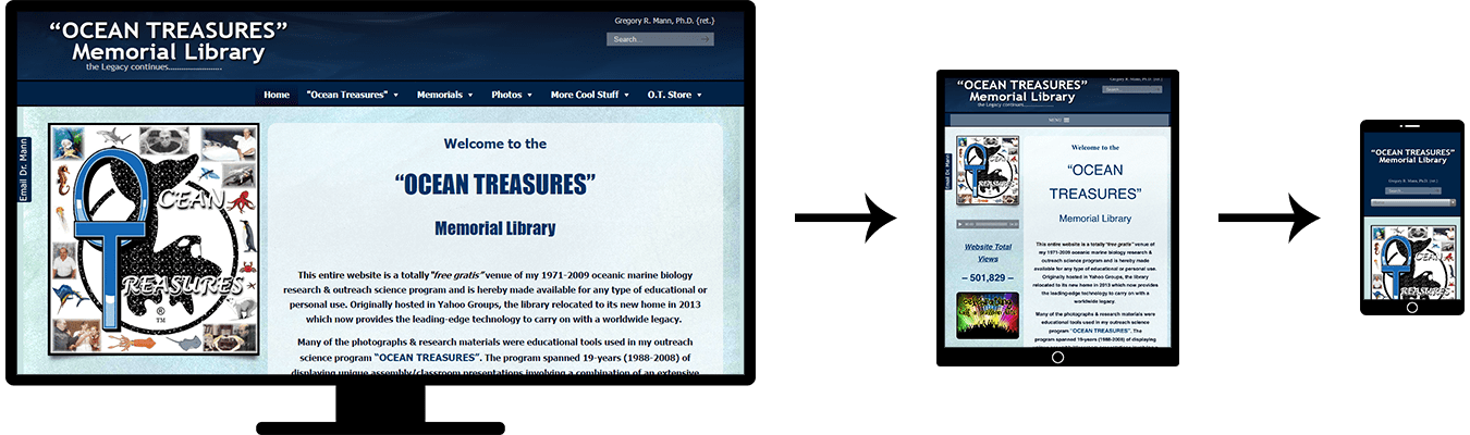 Image of three screenshots showing the responsive design of the Ocean Treasures Library website