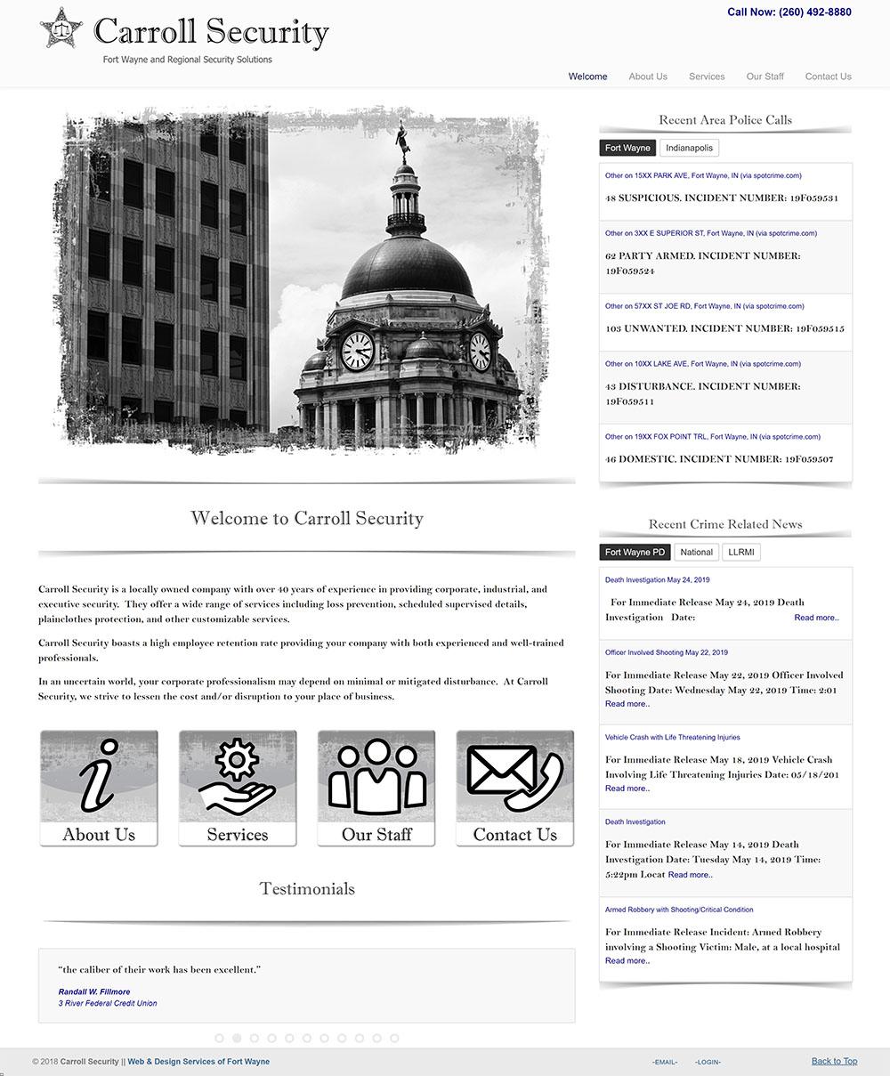 Screenshot of Carroll Security website