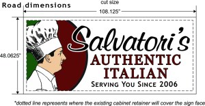 "Redesigned Salvatori's road sign (48""x108"")"