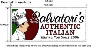 """Redesigned Salvatori's road sign (48""""x108"""")"""