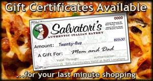 Salvatori's Facebook advertisement gift certificates