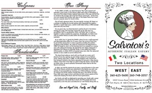 3-Fold Salvatori's Carryout Menu exterior
