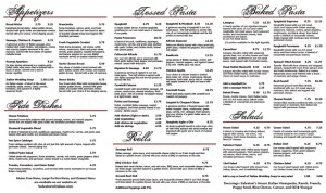 3-Fold Salvatori's Carryout Menu interior