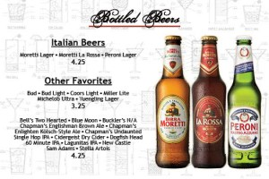 Salvatori's Beverage/Dessert Menu beer list