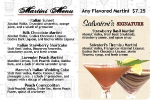 Salvatori's Beverage/Dessert Menu martini menu